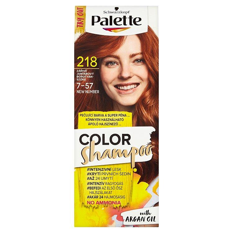 Fotografie Schwarzkopf Palette Color Shampoo barva na vlasy Zářivě Jantarový 218