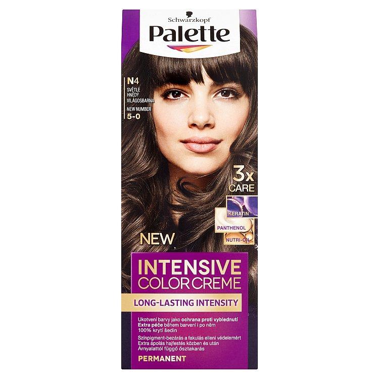 Fotografie Schwarzkopf Palette Intensive Color Creme barva na vlasy Světle Hnědý N4