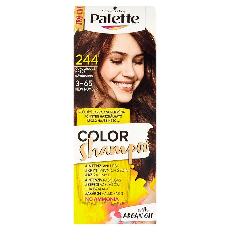 Fotografie Schwarzkopf Palette Color Shampoo barva na vlasy Čokoládově Hnědý 244
