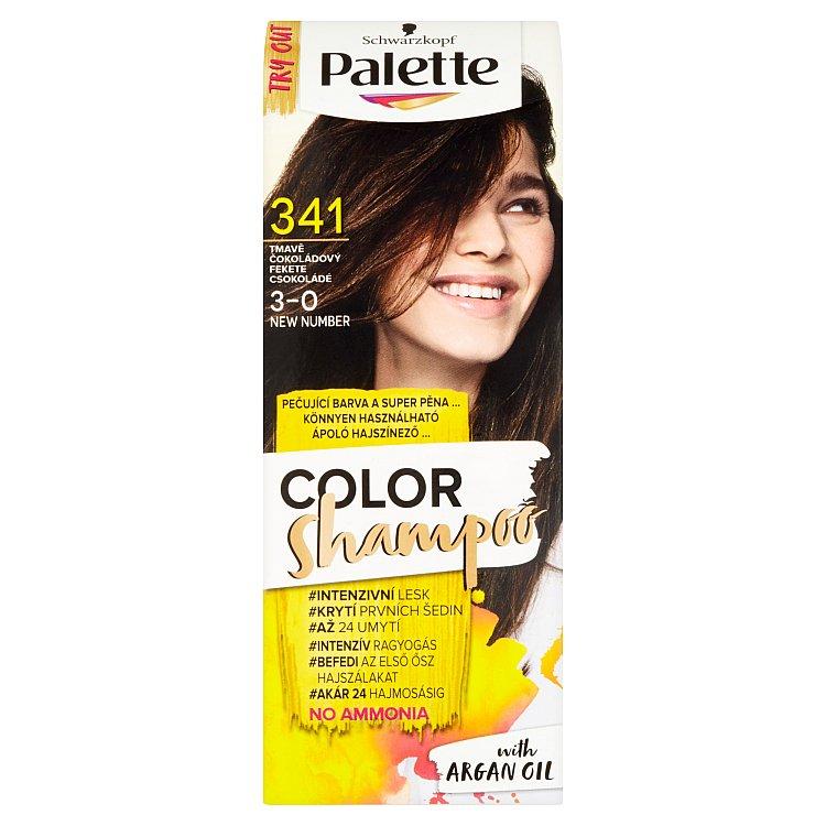 Fotografie Schwarzkopf Palette Color Shampoo barva na vlasy Tmavě čokoládový 341