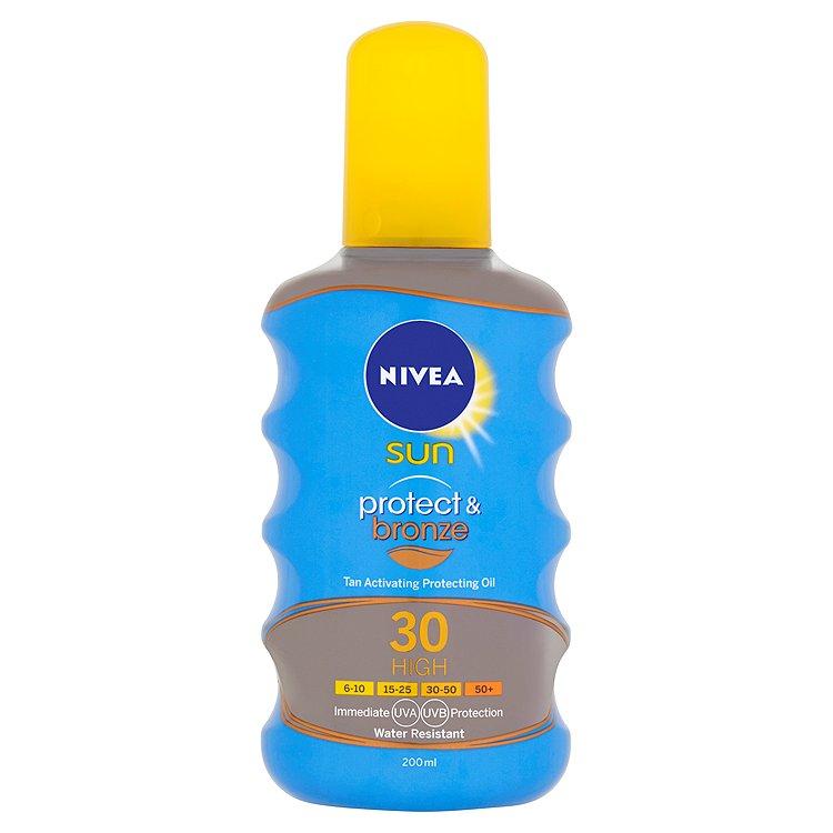 Nivea Sun Protect & bronze olej na opalování ve spreji podporující zhnědnutí OF 30 200 ml