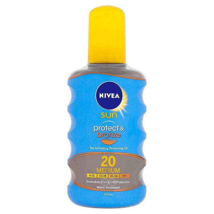 Nivea Sun Protect & bronze olej na opalování ve spreji podporující zhnědnutí OF 20 200 ml
