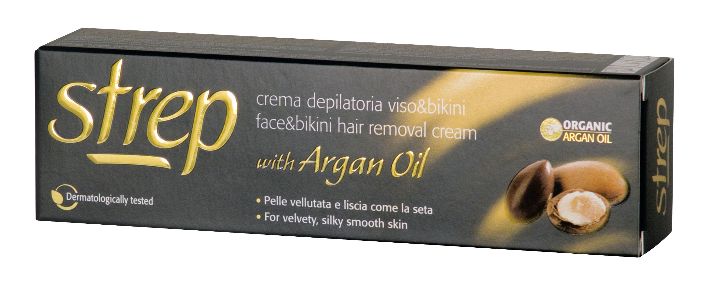 Fotografie Strep depilační krém pro depilaci tváře a oblasti bikin s arganovým olejem 50 ml