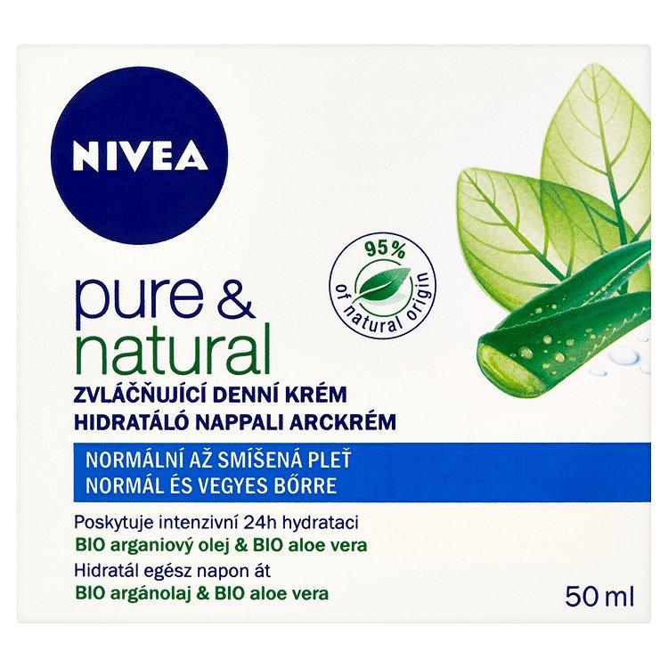 Nivea Pure & Natural zvláčňující denní krém pro normální až smíšenou pleť 50 ml