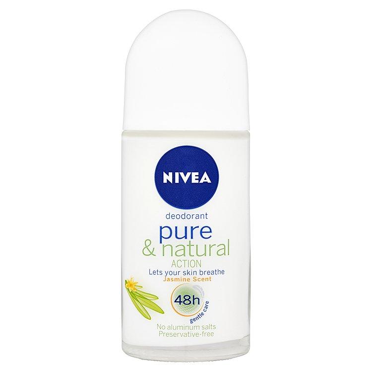 Nivea Pure & Natural Action kuličkový deodorant s vůní jasmínu 50 ml