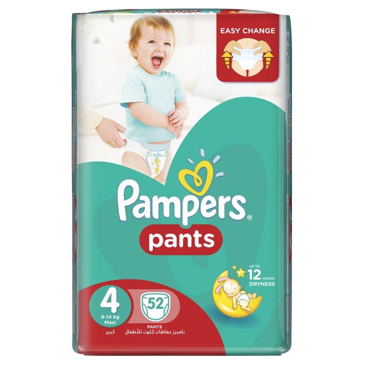 Pampers plenkové kalhotky 4 Maxi, 9-14 kg 52 ks