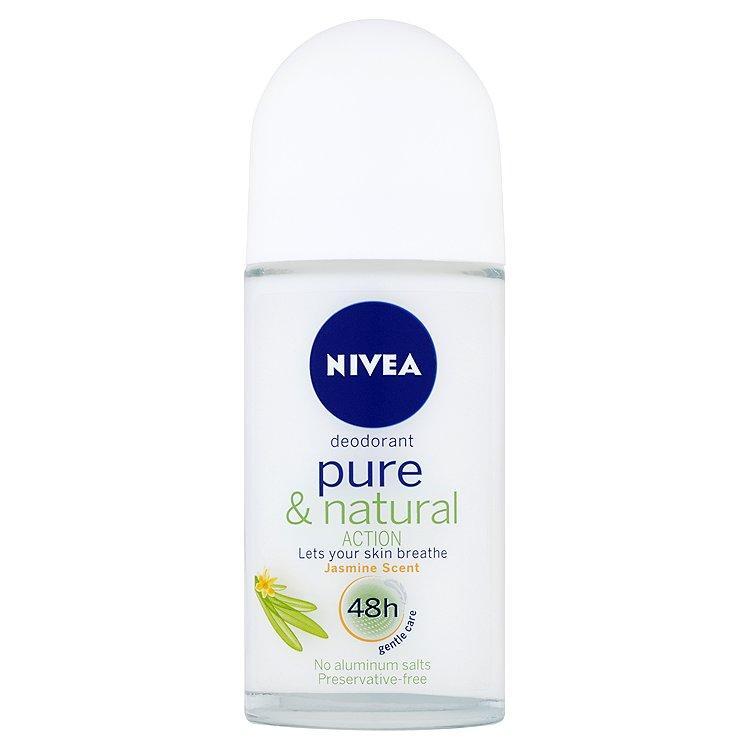 Fotografie Nivea Pure & Natural Action kuličkový deodorant s vůní jasmínu 50 ml