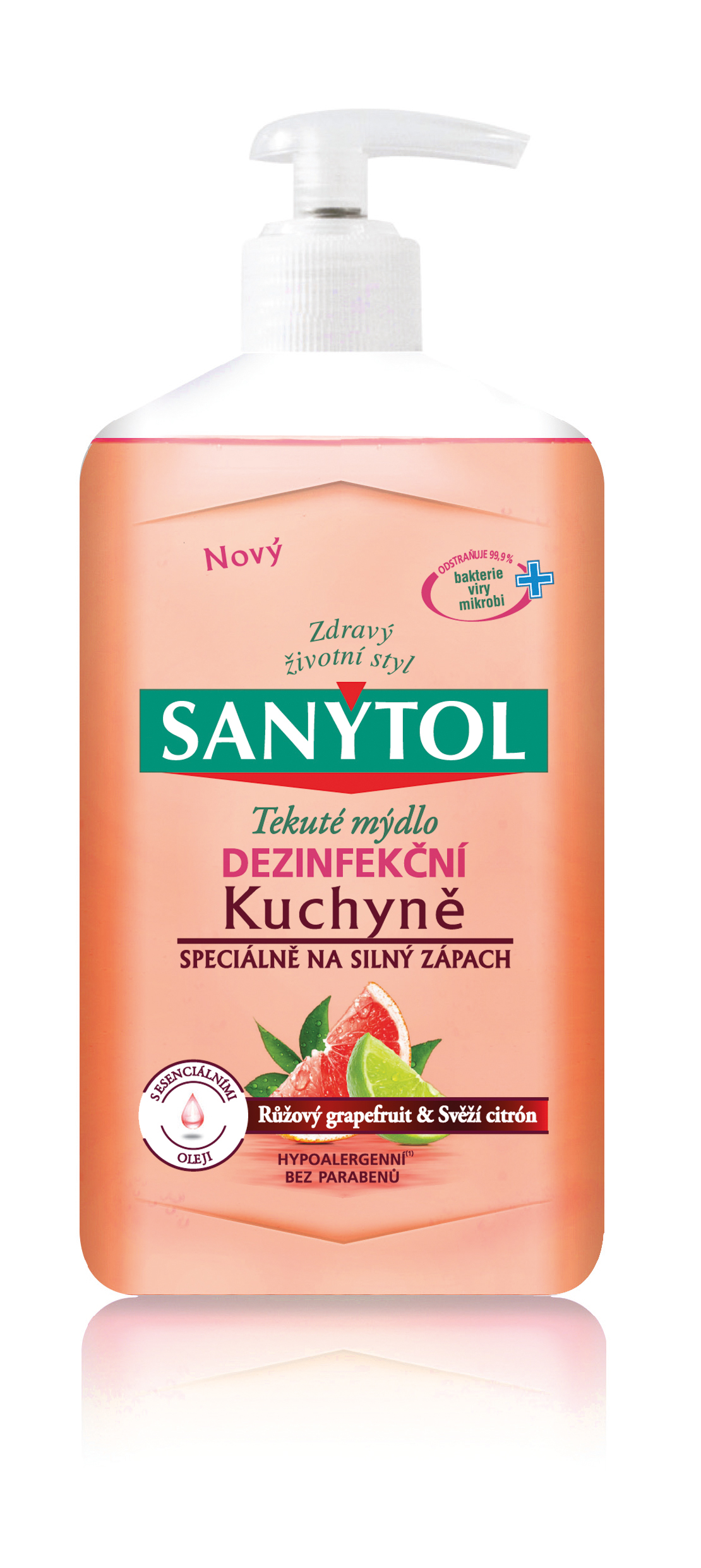 Sanytol dezinfekční mýdlo do kuchyně růžový grapefruit a svěží citrón 250 ml