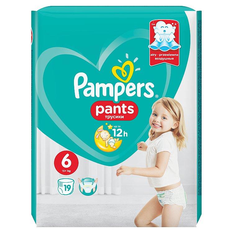 Fotografie Pampers Pants plenkové kalhotky 6 Extra Large (16-22 kg), 19 ks