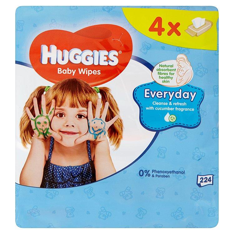 Huggies Everyday dětské ubrousky Quatro 4 x 56 ks