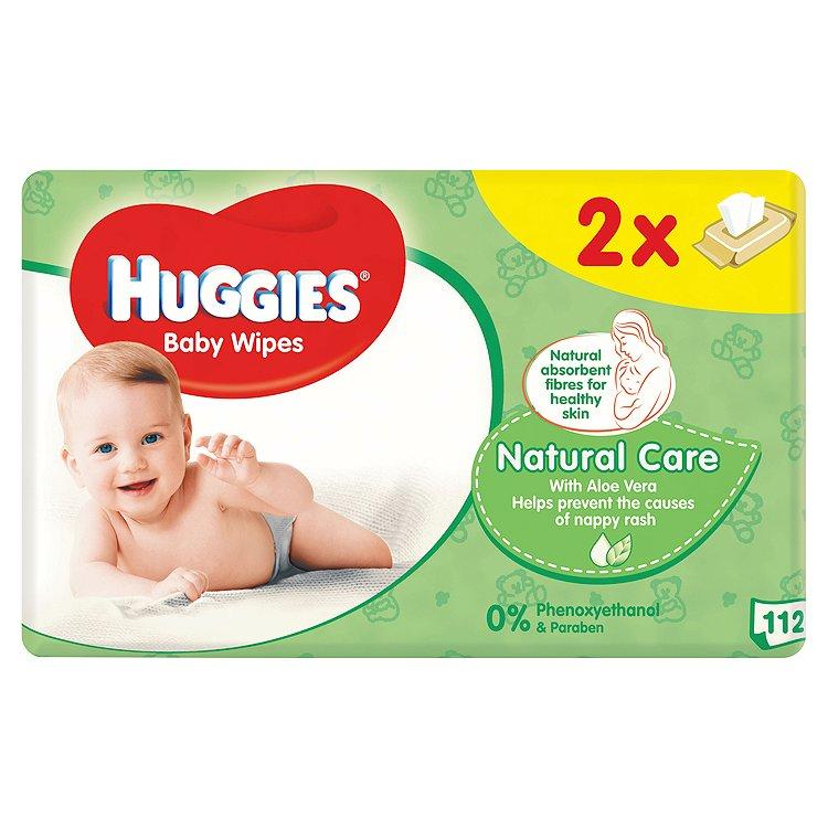 Huggies Natural dětské ubrousky Duo 2 x 56 ks