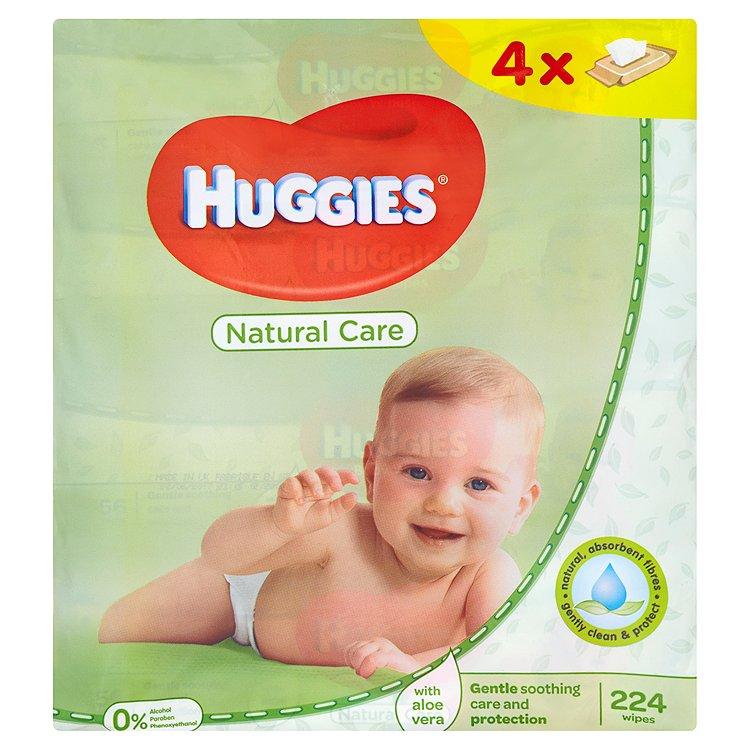 Huggies Natural dětské ubrousky Quatro 4 x 56 ks