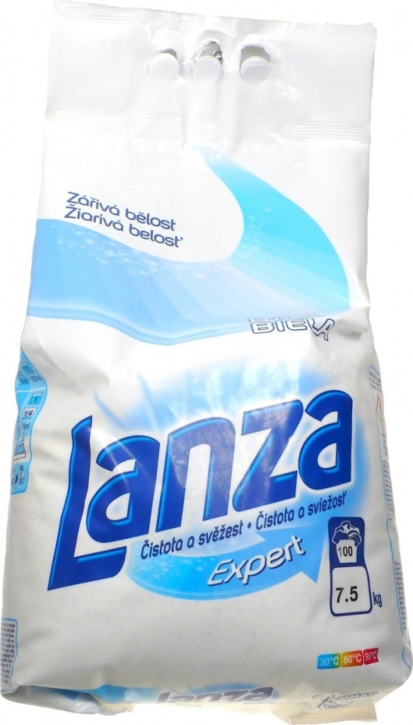 Fotografie Lanza Expert Bílá prací prášek, 100 praní 7,5 kg