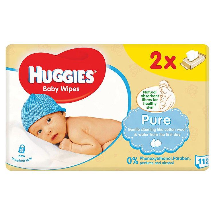 Fotografie Huggies Pure dětské ubrousky Duo 2 x 56 ks