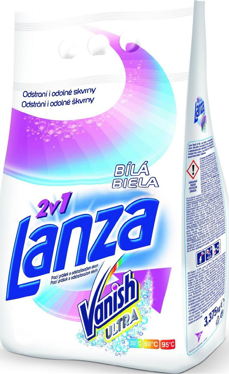 Lanza Vanish Ultra 2v1 bílá prací prášek s odstraňovačem skvrn, 15 praní 1,125 kg