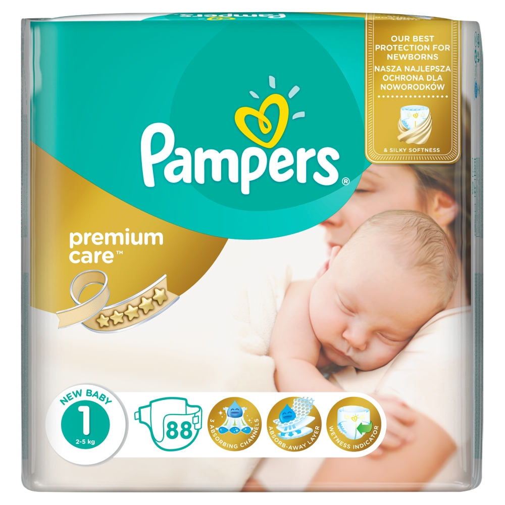 Pampers Premium Care pleny 1 Newborn, 2-5 kg 88 ks