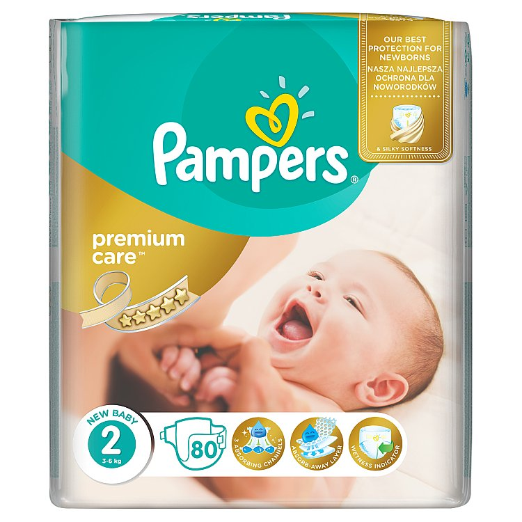 Pampers Premium Care pleny 2 Mini, 3-6 kg 80 ks