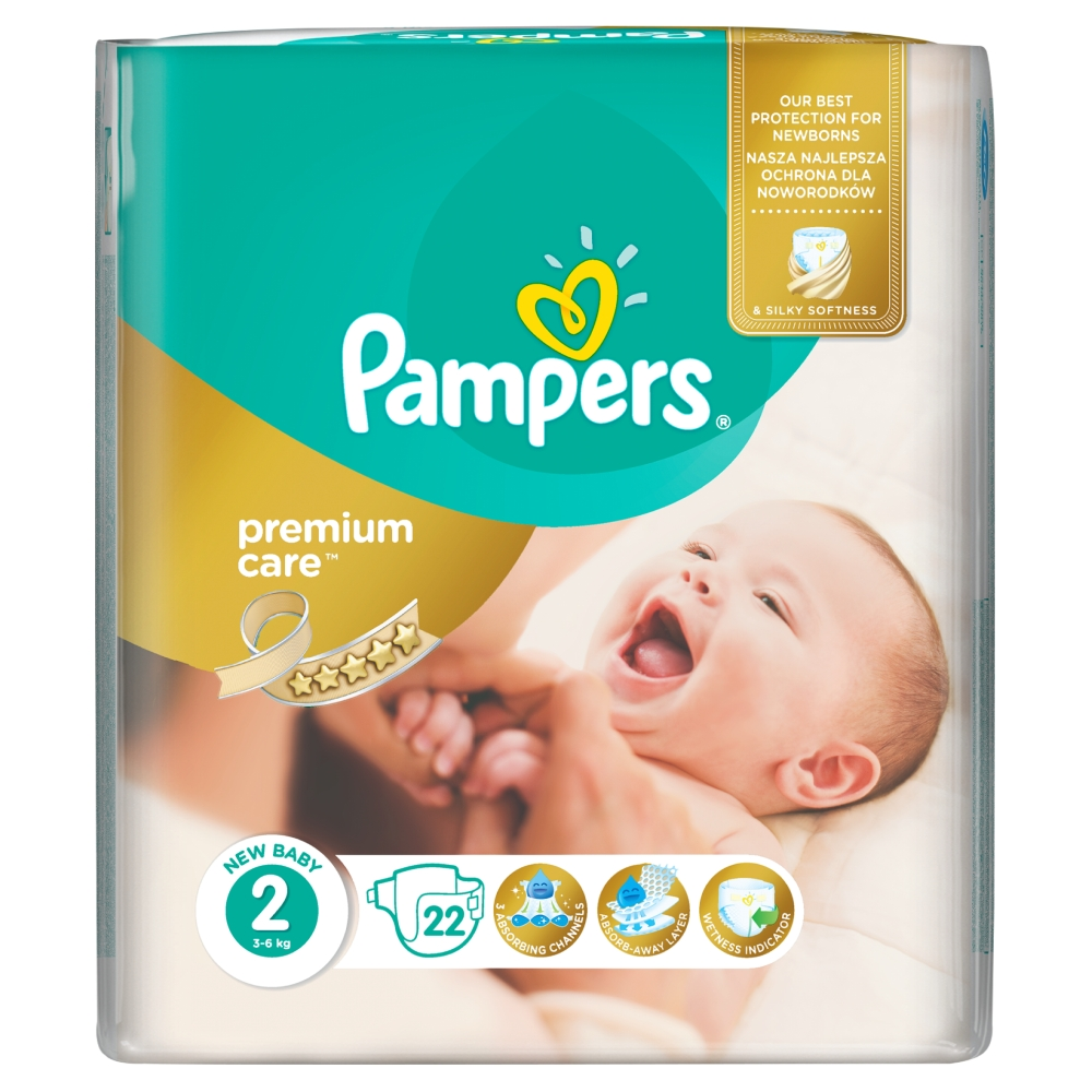 Pampers Premium Care pleny 2 Mini, 3-6 kg 22 ks
