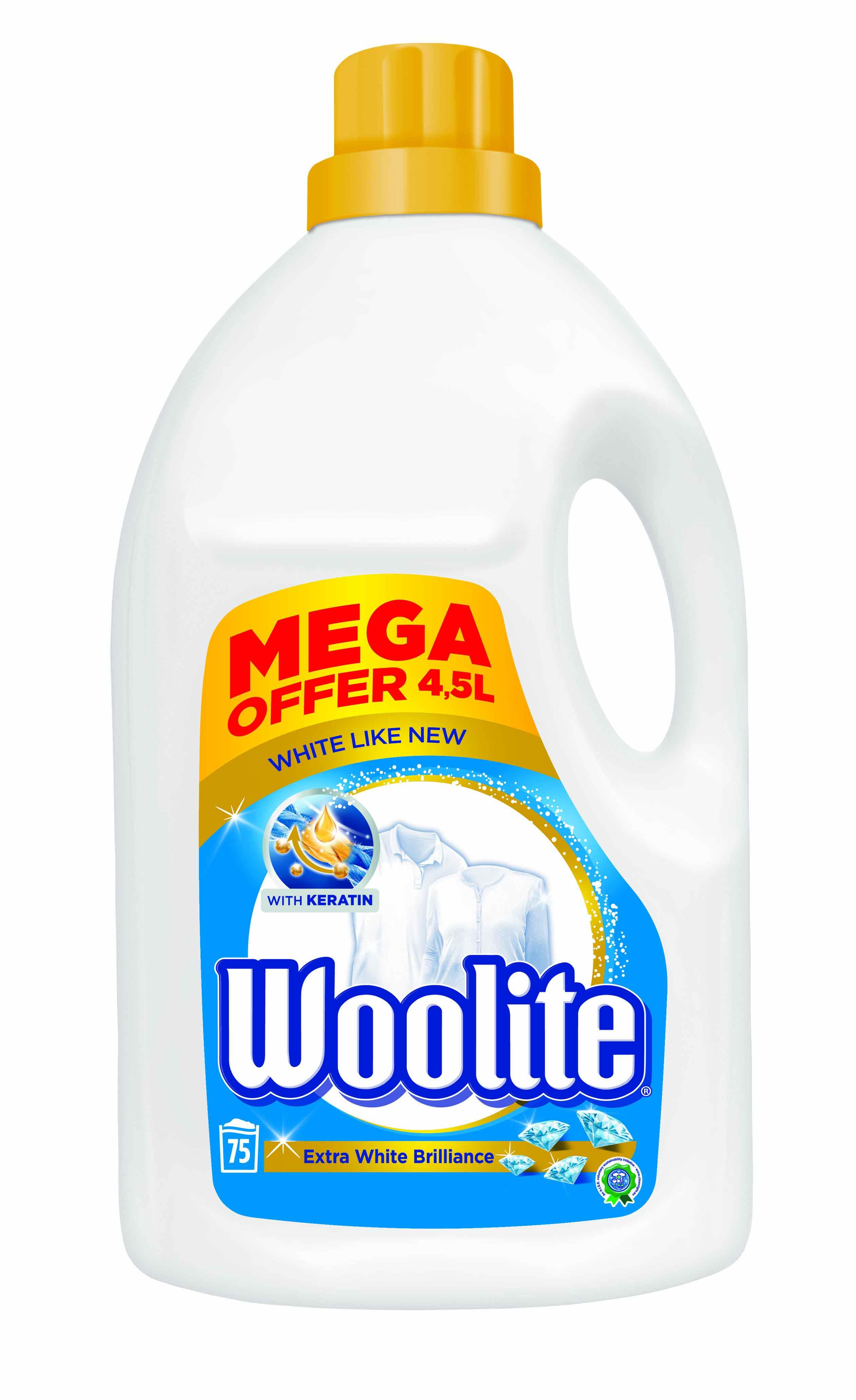Fotografie Woolite Extra White Brilliance s keratinem tekutý prací prostředek na bílé prádlo, 75 praní 4,5 l