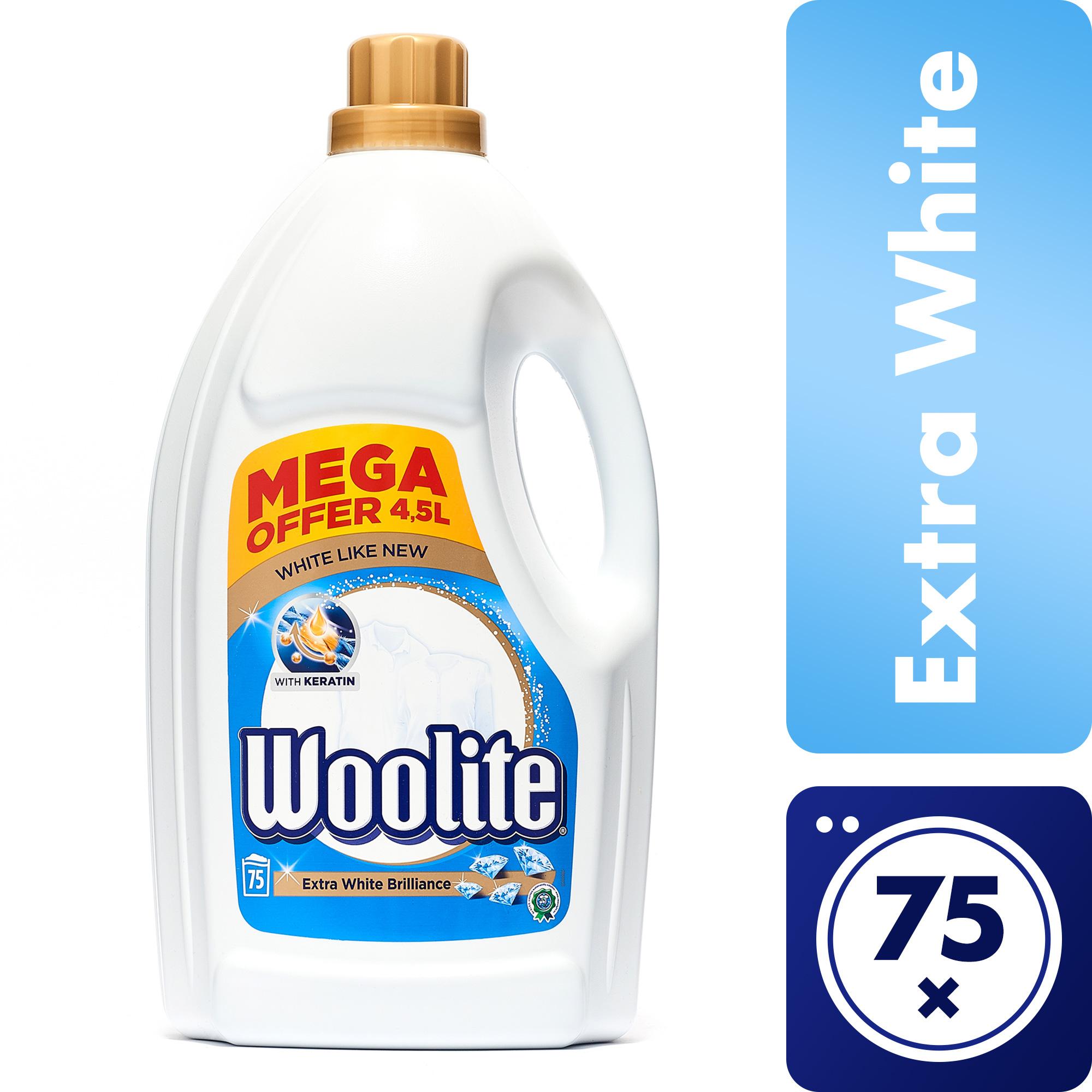 Woolite Extra White Brilliance s keratinem tekutý prací prostředek na bílé prádlo, 75 praní 4,5 l
