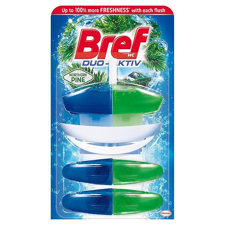 Fotografie Bref Duo Aktiv Extra Clean & Fresh Borovice Wc gel náhradní náplň 3 x 60 ml