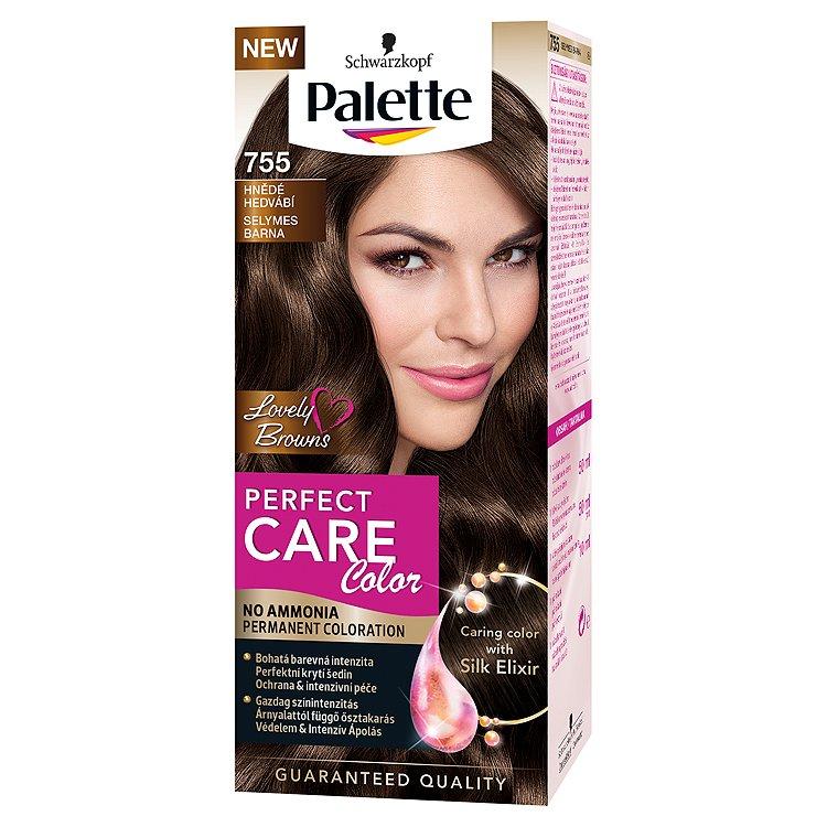 Fotografie Schwarzkopf Palette Perfect Care Color Barva na vlasy Hnědé Hedvábí 755 50 ml