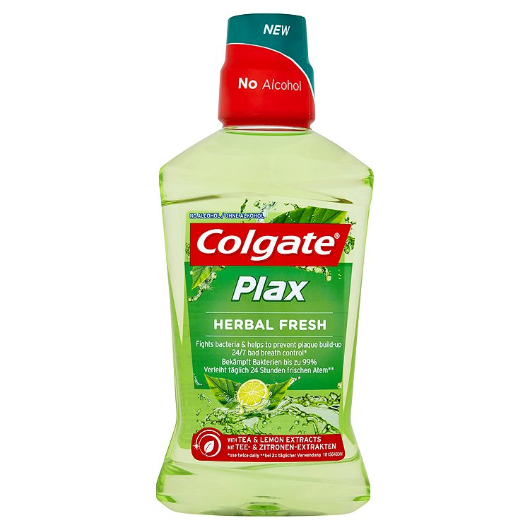 Fotografie Colgate Plax Herbal fresh ústní voda bez alkoholu 500 ml