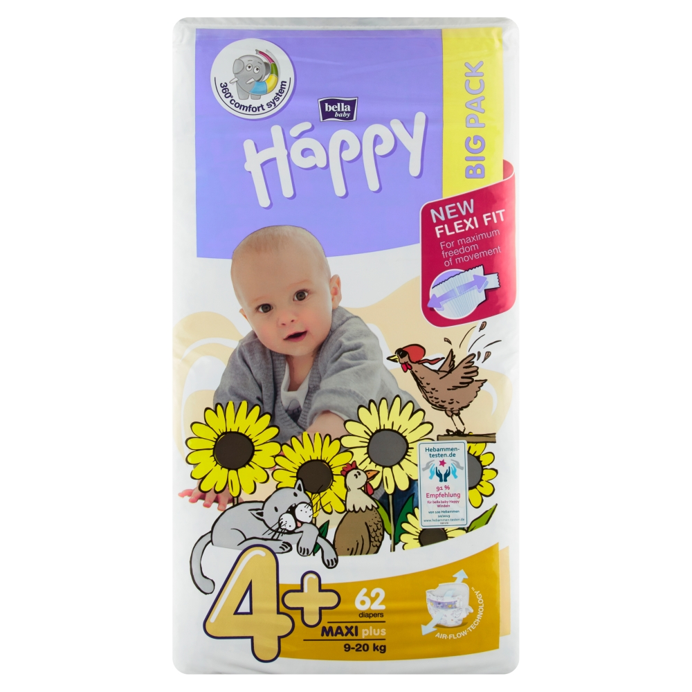 Bella Baby Happy plenky 4+ Maxi plus (9 - 20 kg) 62 ks