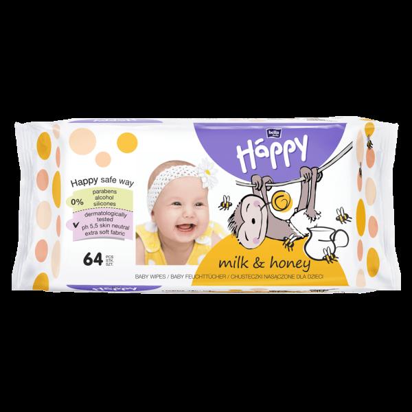 Bella Baby Happy vlhčené ubrousky Mléko & Med 64 ks
