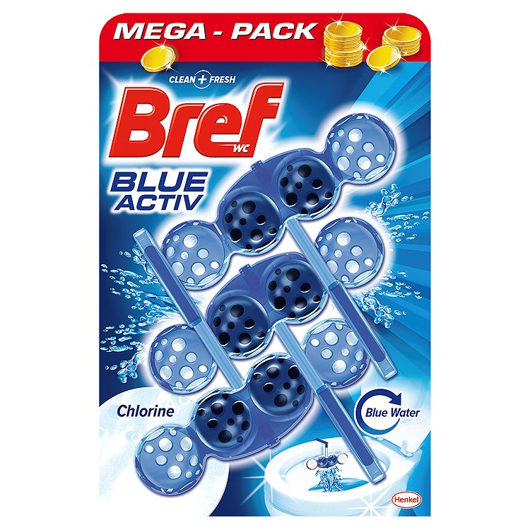 Bref Blue Aktiv WC blok s chlórem 3 x 50 g