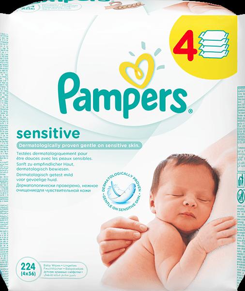Fotografie Pampers Sensitive - čisticí ubrousky 4 x 56 ks