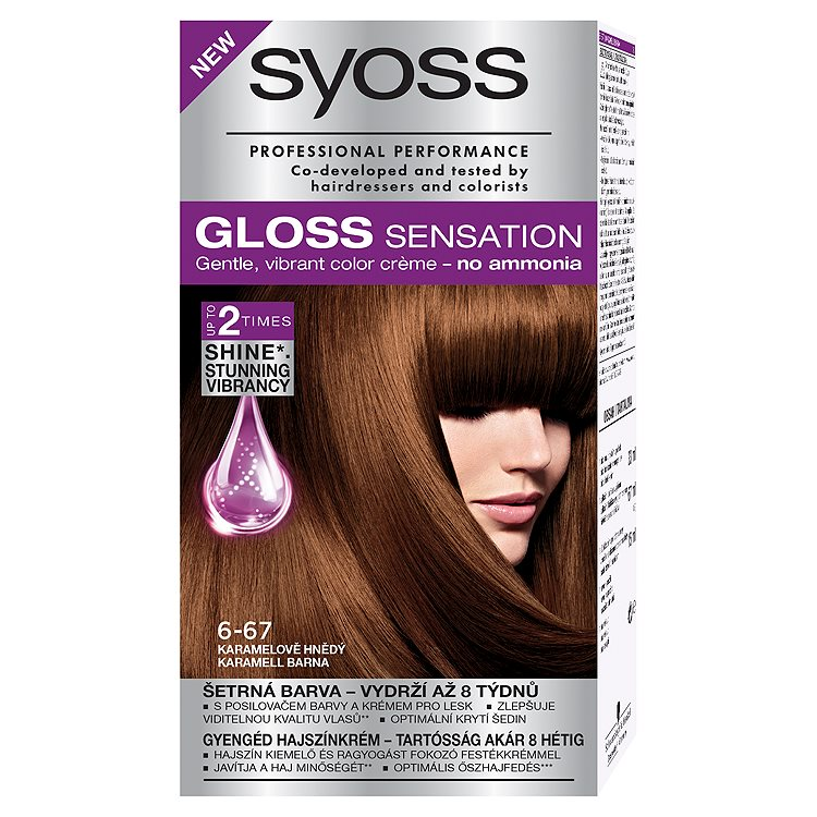 Syoss Gloss Sensation barva na vlasy Karamelově Hnědý 6-67