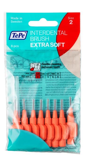TEPE Mezizubní kartáčky 0,5 mm Extra Soft - červený 8 ks