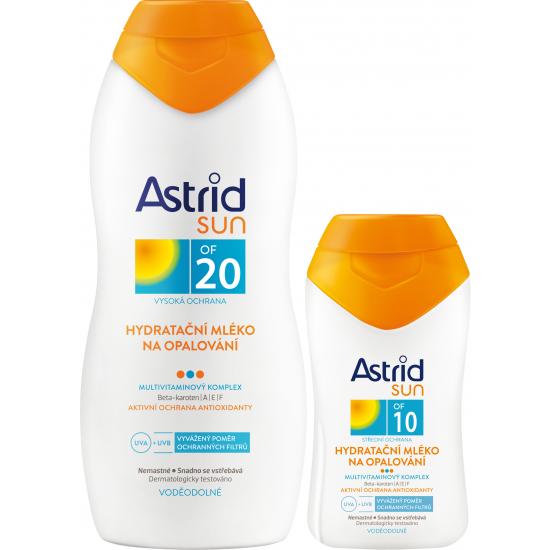 Astrid Sun hydratační mléko na opalování OF 20 a Astrid Sun OF 10 hydratační mléko na opalování 200+100 ml