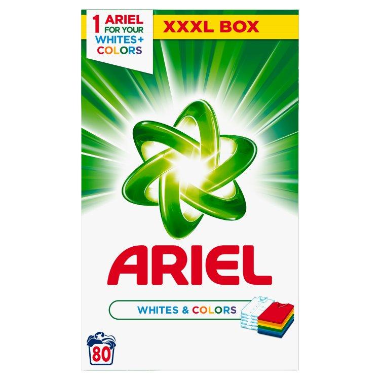 Ariel prací prášek na bílé a barevné prádlo, 80 praní 6 kg