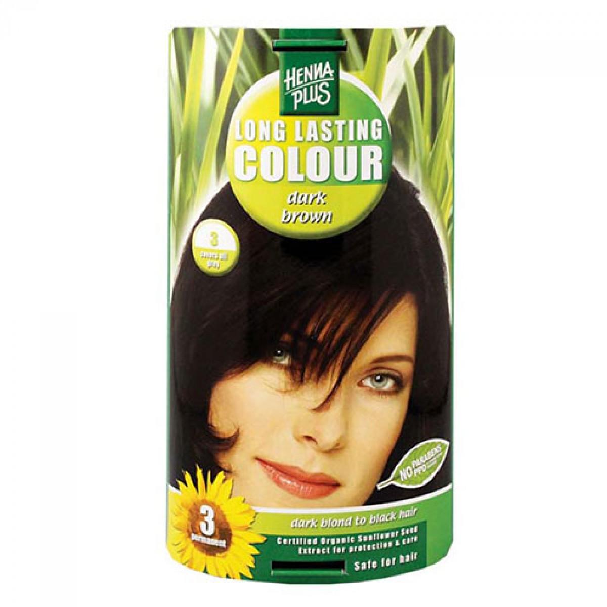 Fotografie HennaPlus dlouhotrvající barva na vlasy 3 Tmavě hnědá, 100 ml