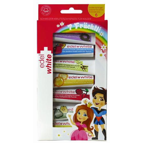 Fotografie Edel+White 7 ovocných zubních past pro děti 7 x 9,3 ml