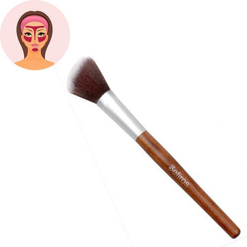 Sefiros Red Wood rovný štětec na make-up s rukojetí z červeného dřeva