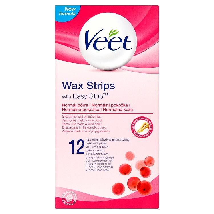 Fotografie Veet Easy Strip voskové pásky s proužkem pro snadné uchopení 12 ks