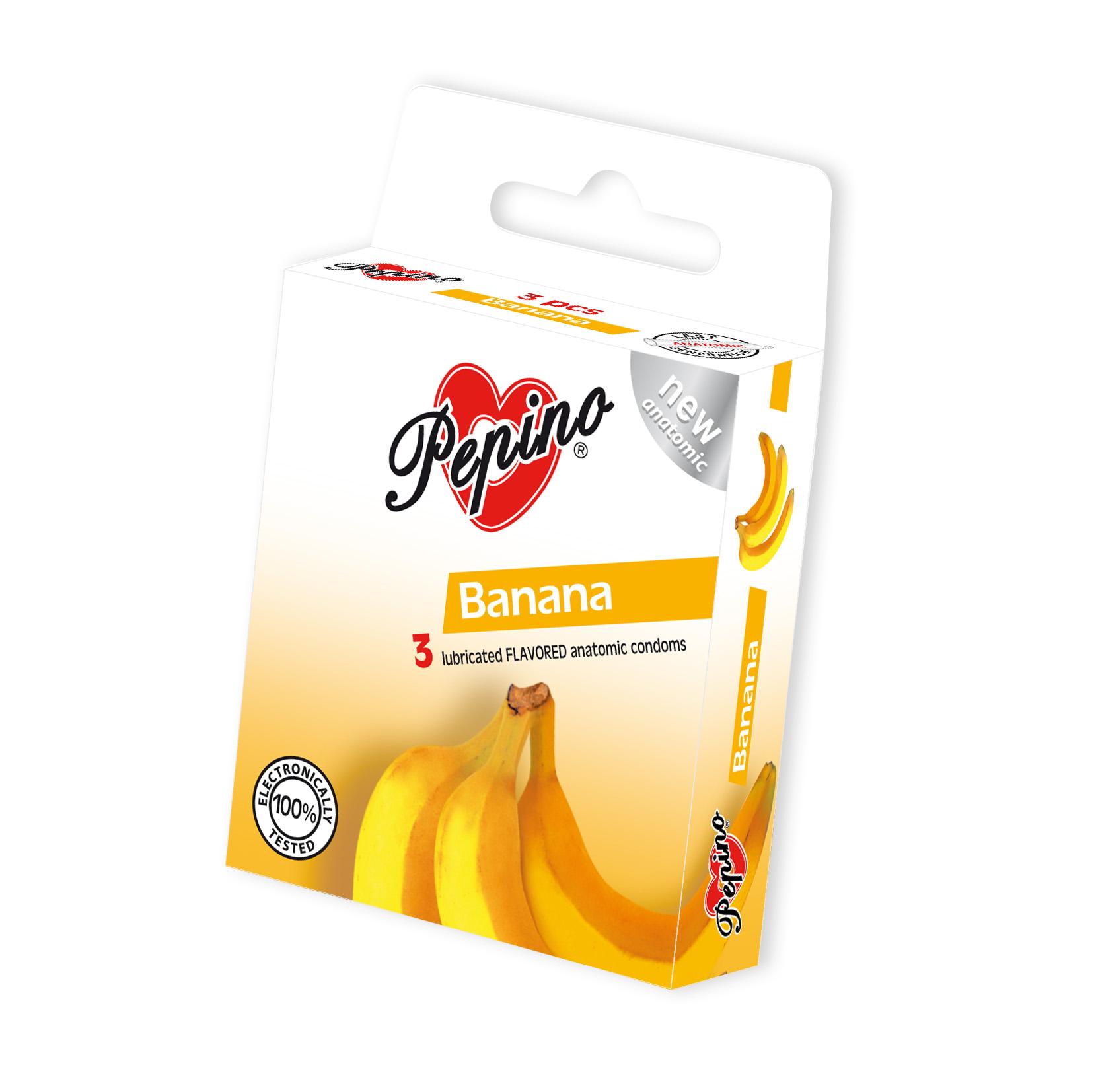 Fotografie Pepino Banán kondom z přírodního latexu 3 kusy