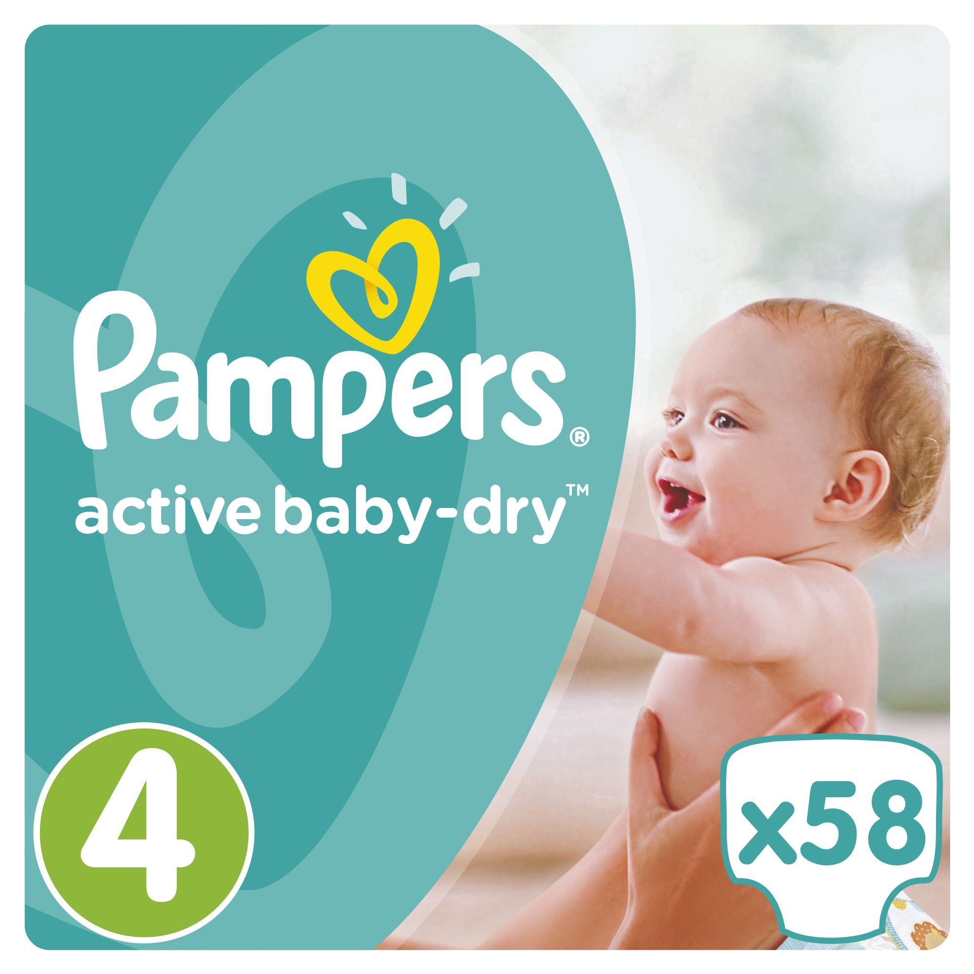 Pampers Active Baby-Dry pleny 4 Maxi, 8-14 kg 58 ks