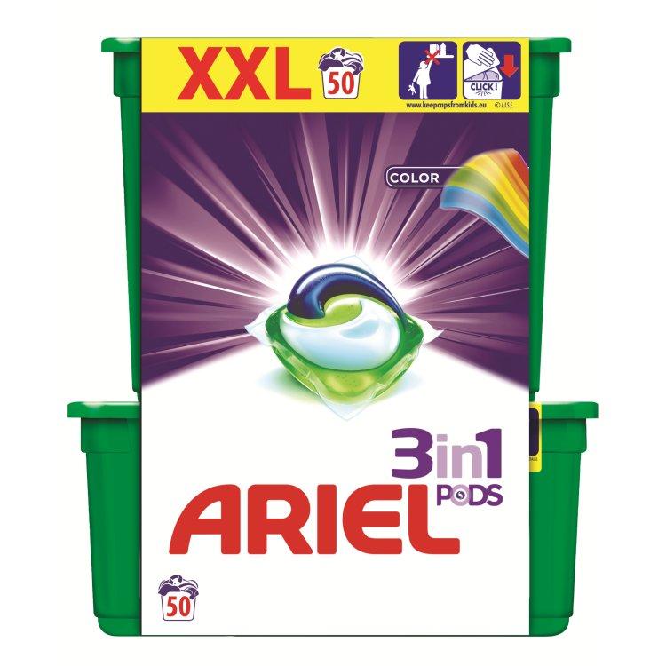 Ariel 3v1 Color gelové kapsle, 50 praní 50 ks