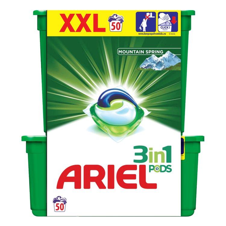 Ariel 3v1 Mountain Spring gelové kapsle, 50 praní 50 ks