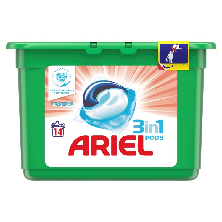 Ariel 3v1 Sensitive kapsle, 14 praní 14 ks