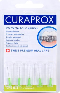 Curaprox Regular Refill 11 náhradní mezizubní kartáčky 5 ks, 2,5 mm, zelené