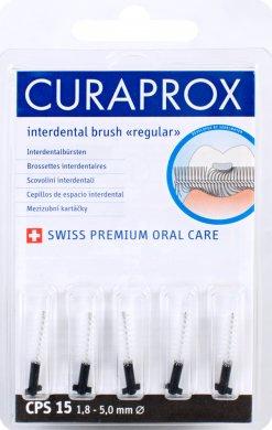 Curaprox Regular Refill 15 náhradní mezizubní kartáčky 5 ks, 5,0 mm, černé