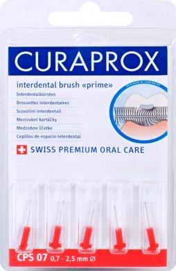 Fotografie Curaprox Prime Refill 07 - 2,5 mm náhradní kartáčky červený, 5 ks