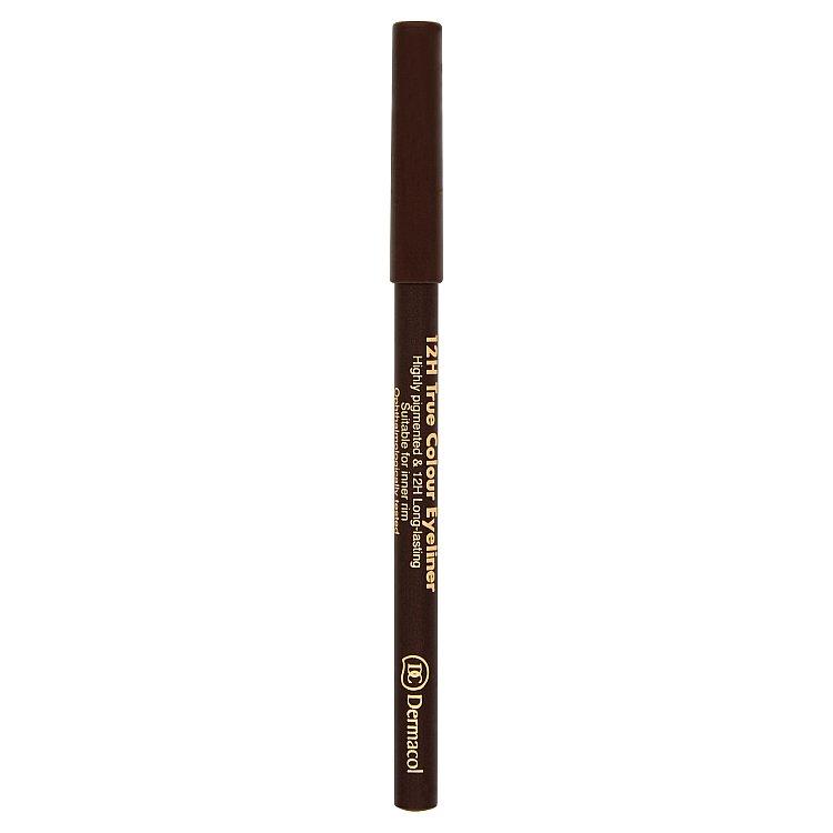 Dermacol dřevěná tužka na oči 12H č.6 - Dark Brown, 2 g