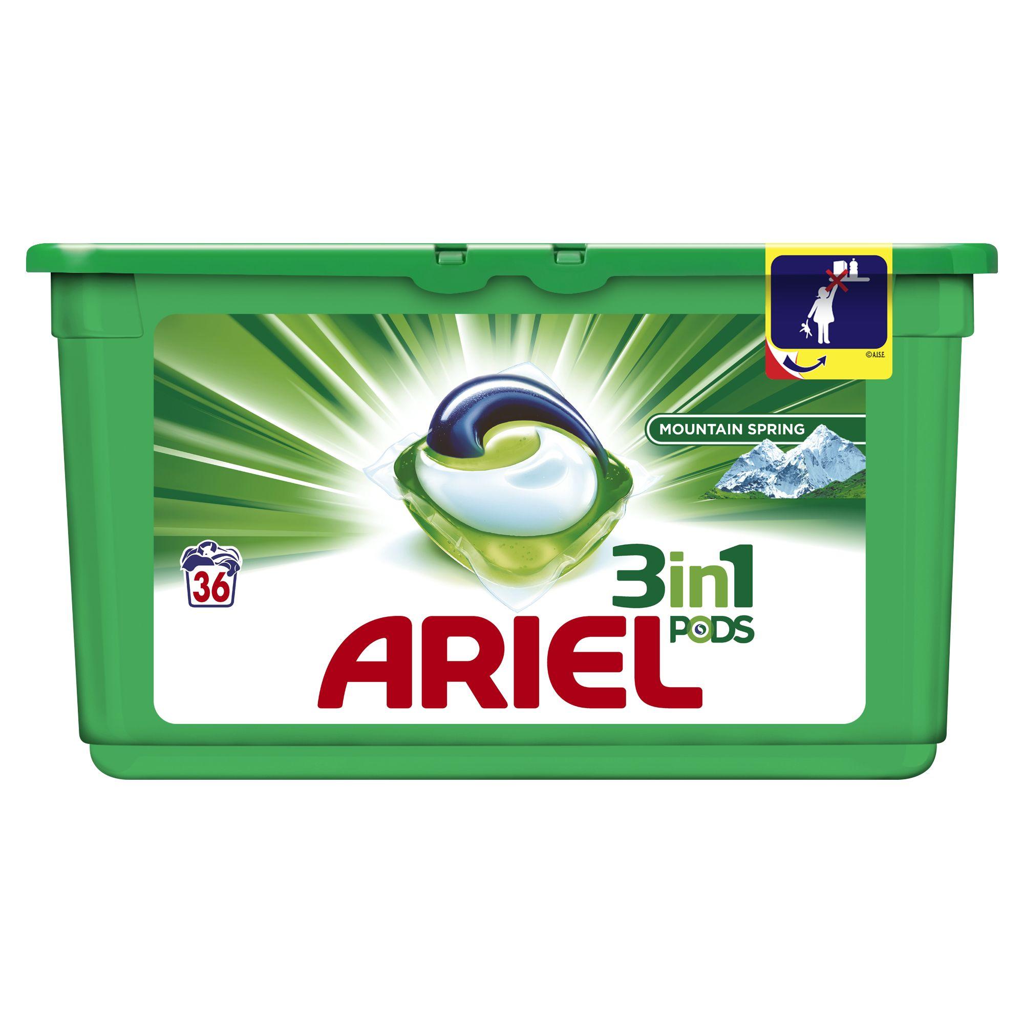 Ariel 3v1 Mountain Spring gelové kapsle, 36 praní 36 ks