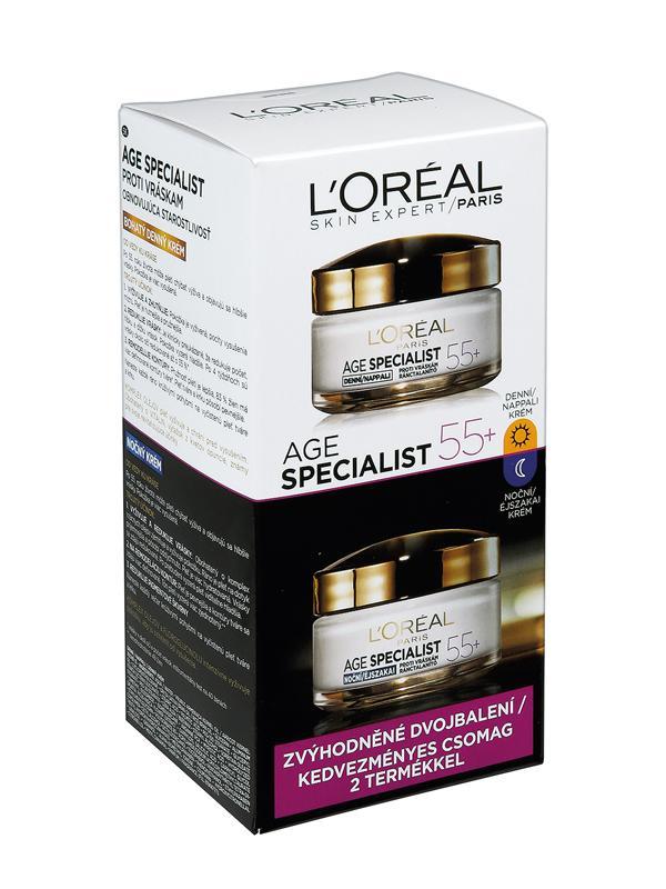 L'Oréal Paris Age Specialist 55+ DUOPACK denní + noční krém proti vráskám, 2 x 50 ml